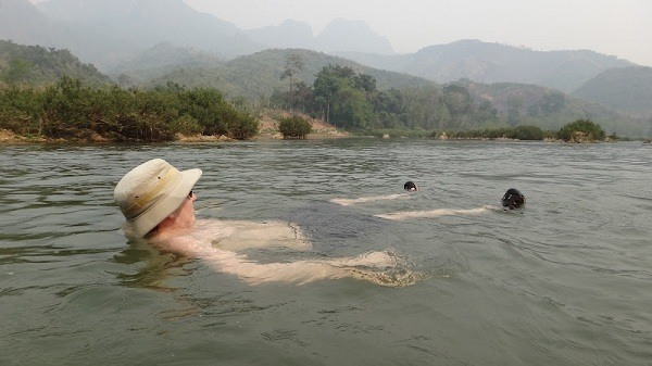 Nong Khiaw - Andrew Floating In The Nong Khiaw River