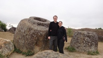 Phonsavan - Plain of Jars Site I - Tanya and Andrew and the Jars