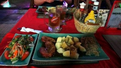 Haus Breman German Restaurant - Smoked Pork, Potatoes, Sauerkraut and Salad