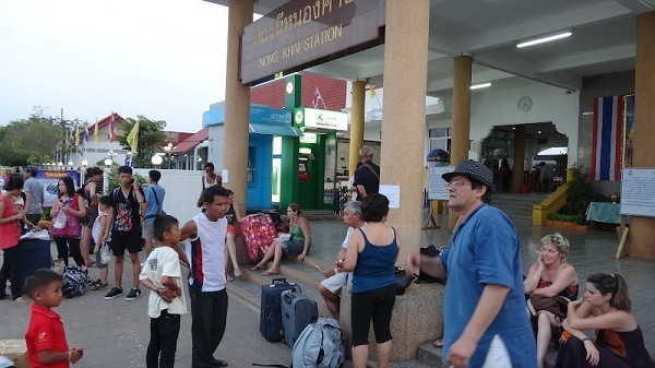Vientiane to Bangkok - Waiting Out Front of Nong Khai Trainstation