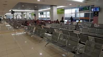 The Departure Lounge at Bandar Tasik Selatan Station. There Are Working Power Points By The Poles