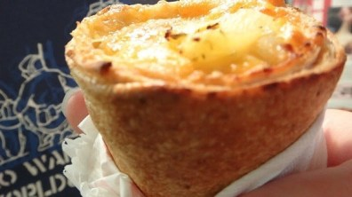 Close Up Of Hawaii Pizza Cone