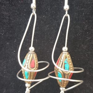 UNIQUE Vortex Twin Earrings, Tibetan beads, Beautiful, hand crafted, drop earrings.