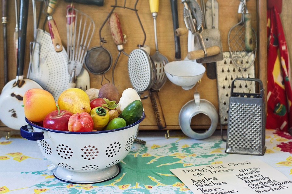 kitchenwares, fruits and veggies