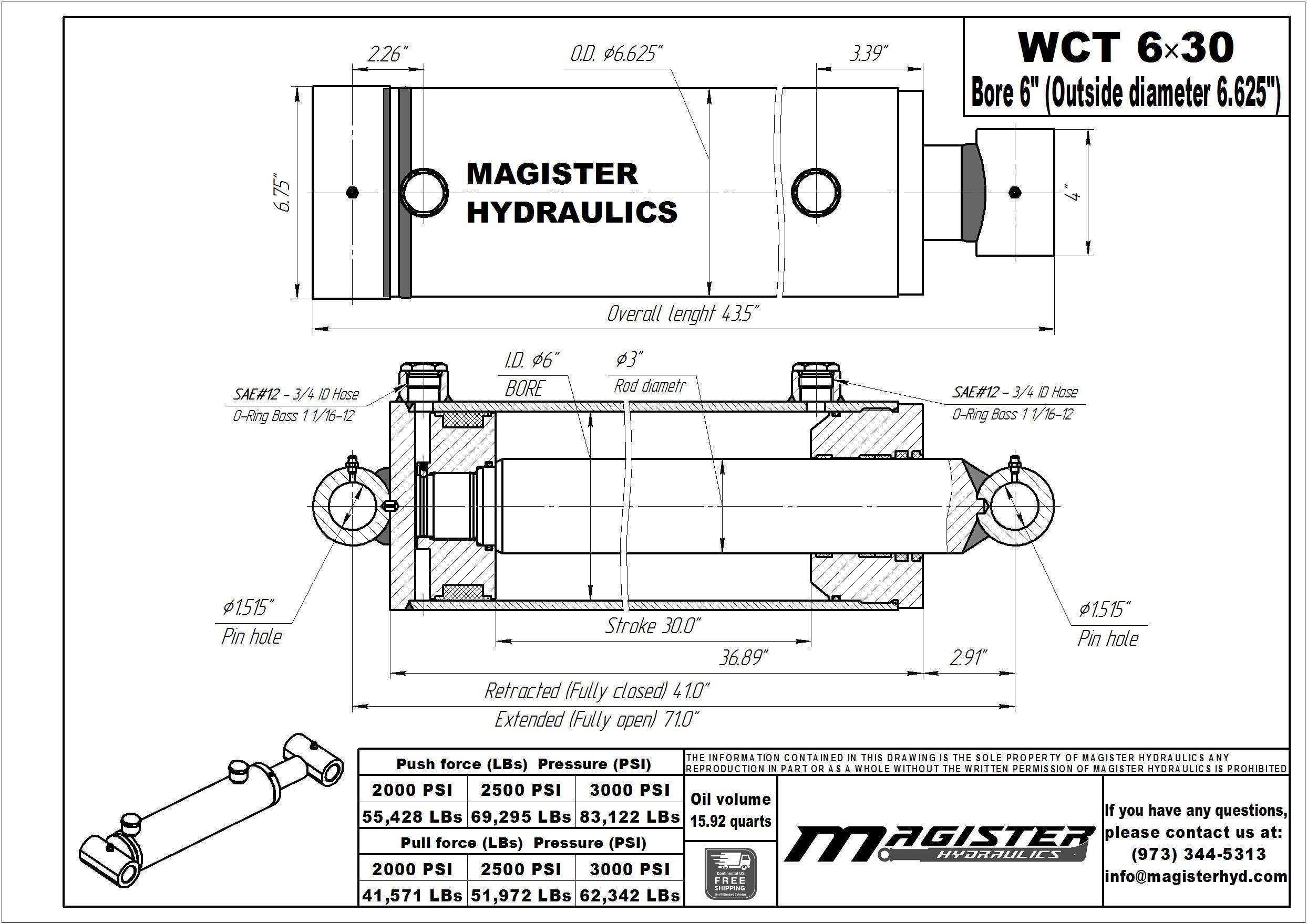 6 Bore X 30 Stroke Hydraulic Cylinder Welded Cross Tube