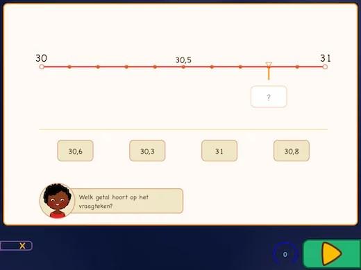 decimalen op de getallenlijn oefenen.