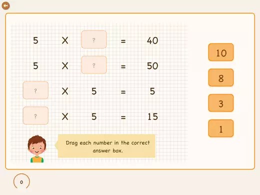 Test example: Show you understand the times table 5 from head.