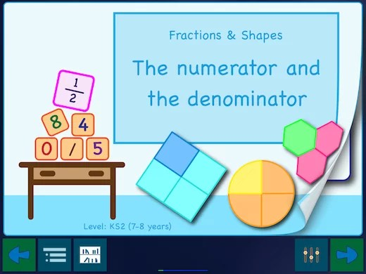 """This app has three sets worksheets. The first is called """"The numerator and the denominator""""."""
