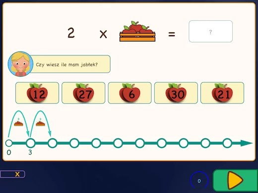 Przykład ćwiczenia w aplikacji: Naucz się tabliczki mnożenia dzięki skrzynkom z jabłkami.