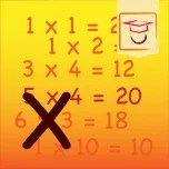 Do you know how much 2 times 2 is? Learn it with this app.