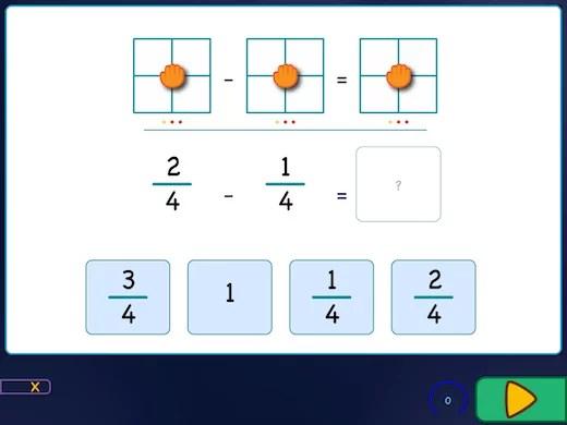 W tym ćwiczeniu musisz poprawnie ustawić liczby, a następnie obliczyć działanie z ułamkami zwykłymi.
