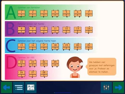 met deze app krijg je 28 oefeningen om te leren optellen tot 100