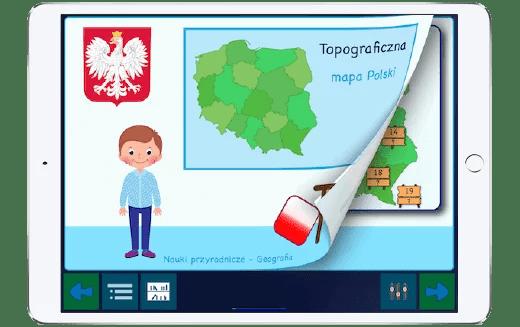 Tabel prezentujący aplikację do nauki topografii Polski