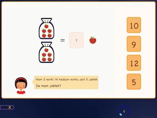 Uczysz się tabeli 5 z jabłkami w koszach