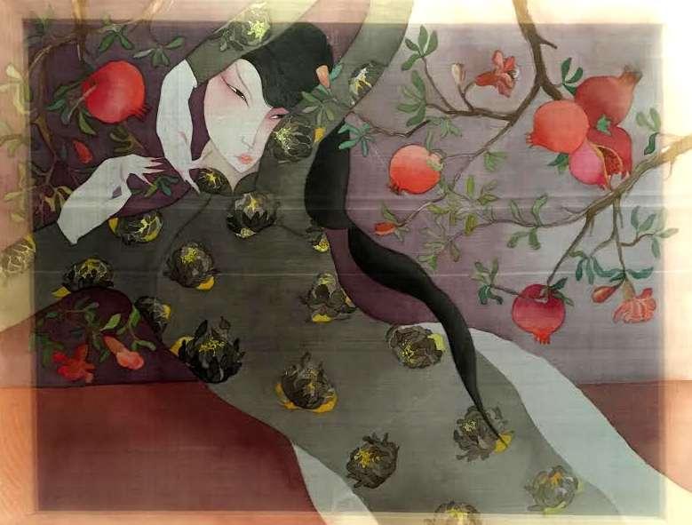 Sous les grenadiers, aquarelle sur soie (60 x 80 cm).