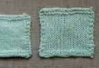Campioni eseguiti con lo stesso filato e lo stesso numero di maglie ma con ferri diverso – ©Purlbee.com
