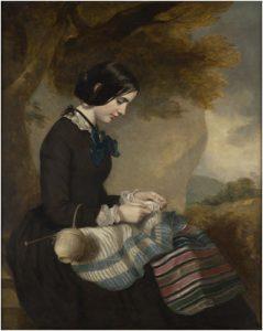 """Sir Francis Grant, """"Mary Isabella Grant, Knitting a Shawl"""", c.1850-1855"""