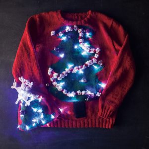 Kim Cameron Christmas Tree hat and Sweater