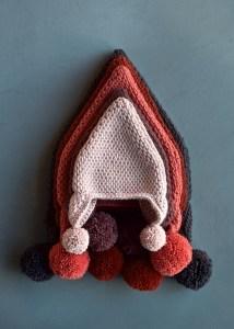 Tunisian Crochet Pointy Pom Pom Hat Purl Soho Natale ad uncinetto tunisino