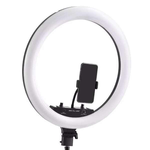 Ring light RGB original Ratko 45 Cm, 15 couleurs LED, support extensible jusqu'à 200 cm.
