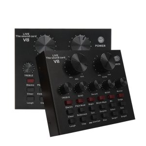 Carte son V8, Interface Audio externe USB, Microphone de diffusion en direct, carte son pour ordinateur, téléphone portable, enregistrement de chant