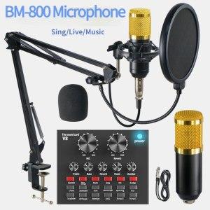 Pack Microphone professionnel à condensateur Bm 800, carte son V8 Bluetooth, avec support de Microphone stand bureau, USB