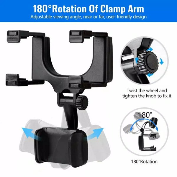 Support de téléphone pour rétroviseur de voiture, support de Smartphone de montage universel à rotation 360°.