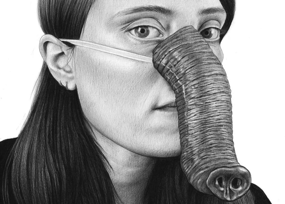 Detail of Self-portrait with trunk Amandine Urruty graphite charcoal paper Magma gallery