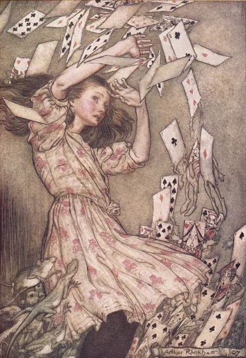 Alice con le carte, illustrazione originale di Arthur Rackham per «Alice nel paese delle meraviglie».