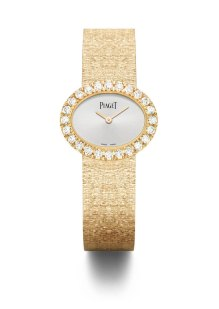 Montre traditionnelle ovale 27 x 22 mm, en or rose 18k sertie de 24 diamants taille brillant