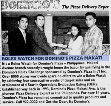 Rolex watch for dominos pizza Makati