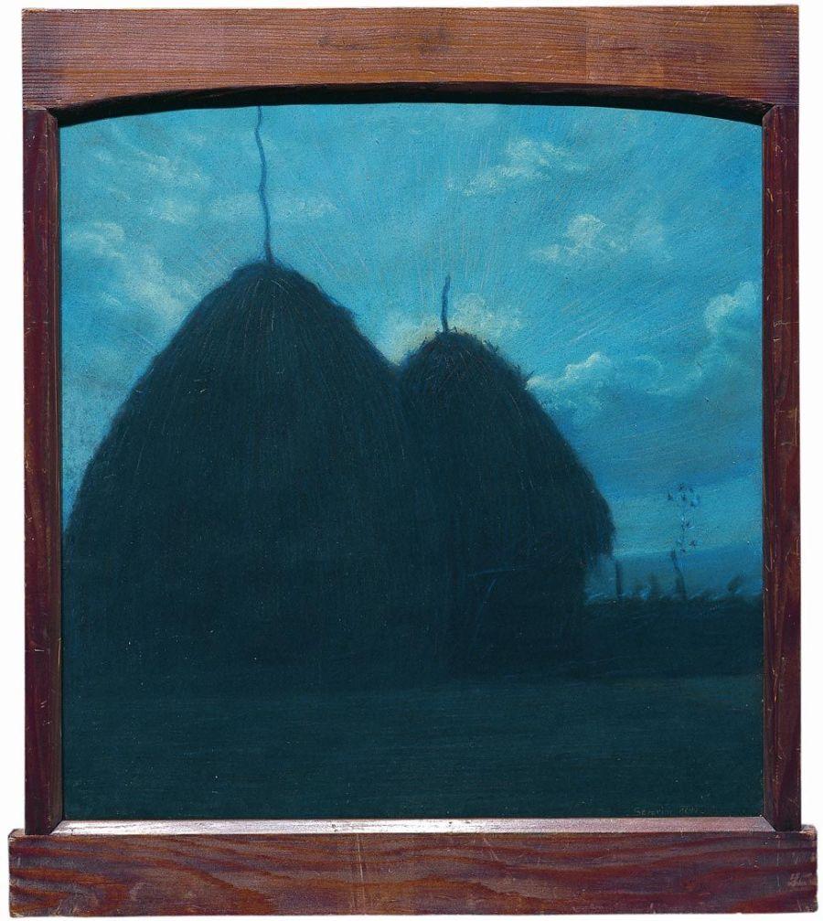 gino severini tramonto con due covoni 1905 (pastello su cartone)