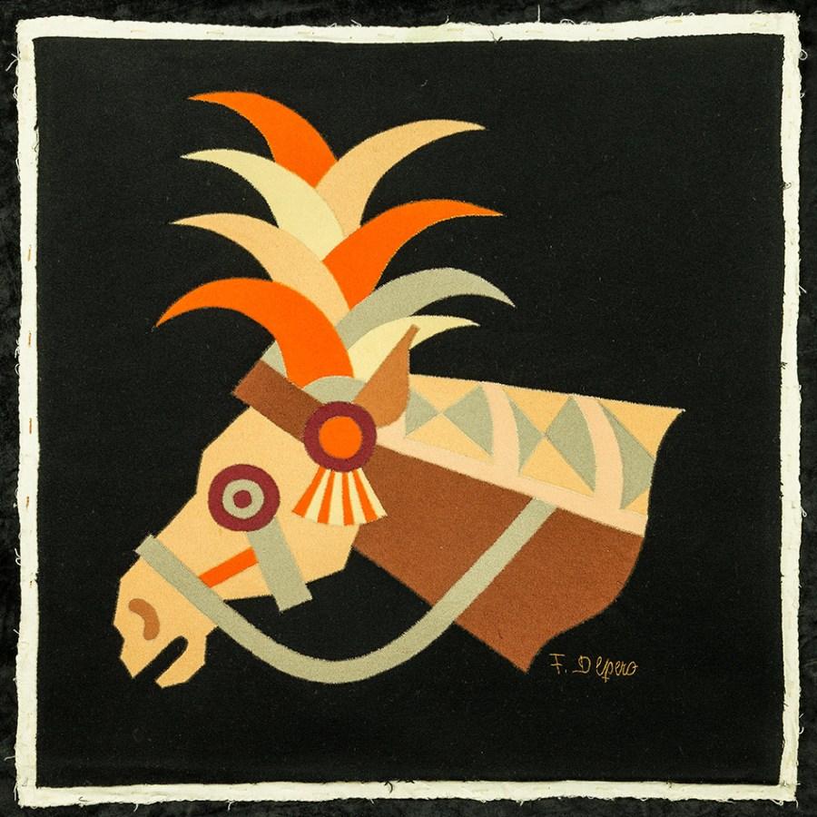 Testa di cavallo, (1938), tarsia in panno - Fortunato Depero