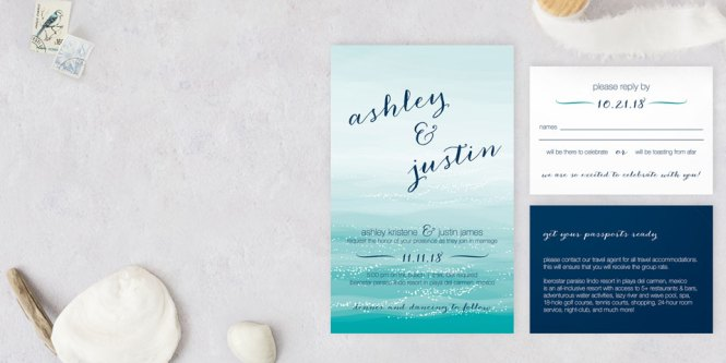 Modern Wedding Invitations With Polka Dot Liner