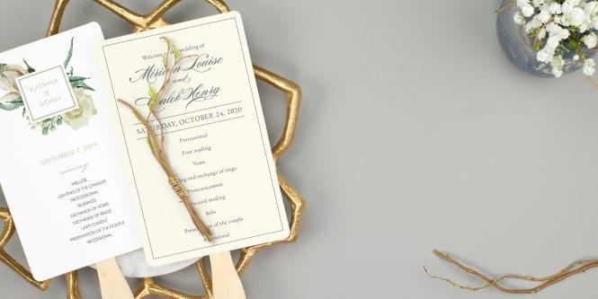 Wedding Program Fans 100 Free Customized Samples