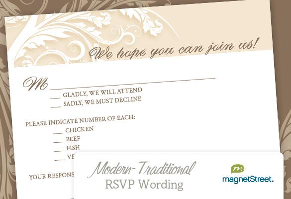 Rsvp Wording Modern Wedding
