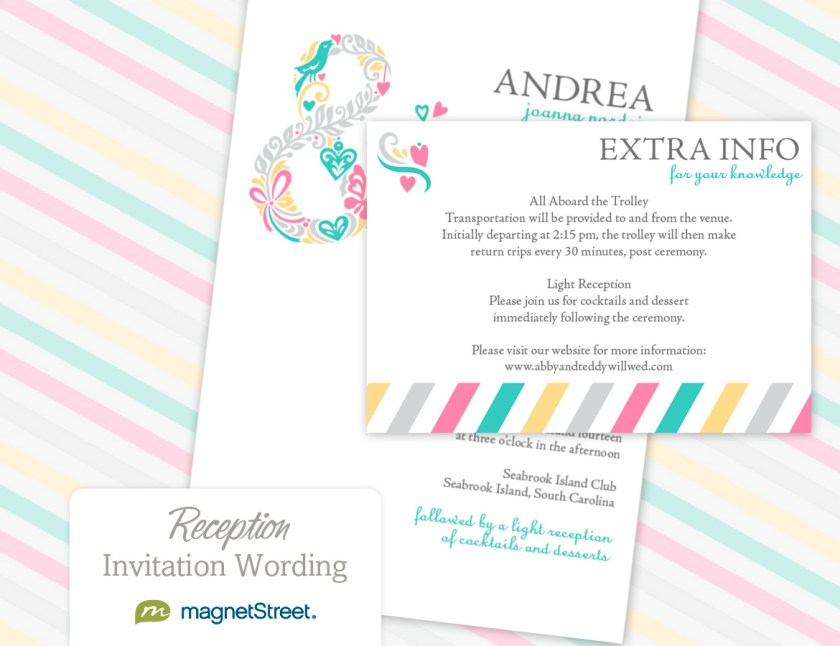Reception Invitation Wording Cards