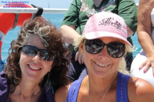 Takara Shelor and Roberta Goodman on a dolphin and whale watching tour in Southern California