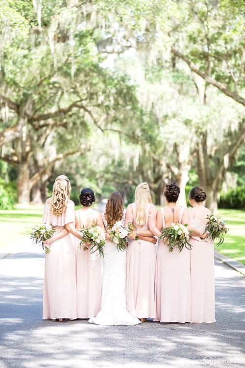 Behind Photo of Bride & Bridesmaids