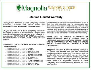 Sunrooms Warranty