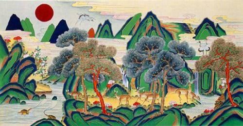 Sip-jang-saeng (Beings of longevity), folk painting, Korea
