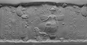 Inanna with her priestess. Circa 2300 B.C.E. Photo Courtesy of the Oriental Institute of the University of Chicago.