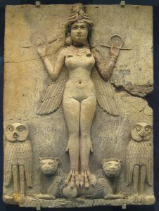 There is debate over whether this relief depicts Inanna or Erishkegal. Circa 1800 B.C.E