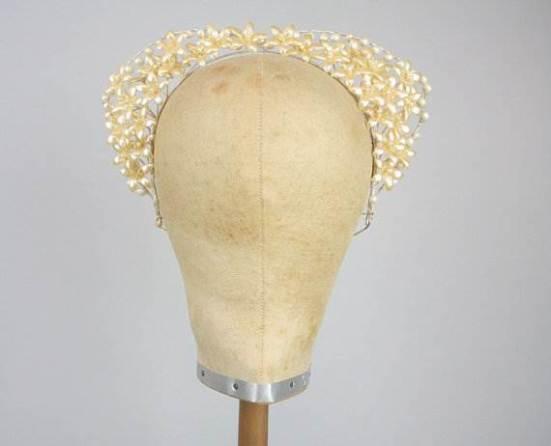 Vintage wedding head piece as seen in the Unique Bride Journal