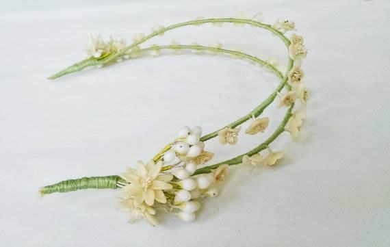 Vintage 1920s flower crown as seen in the Unique Bride Journal