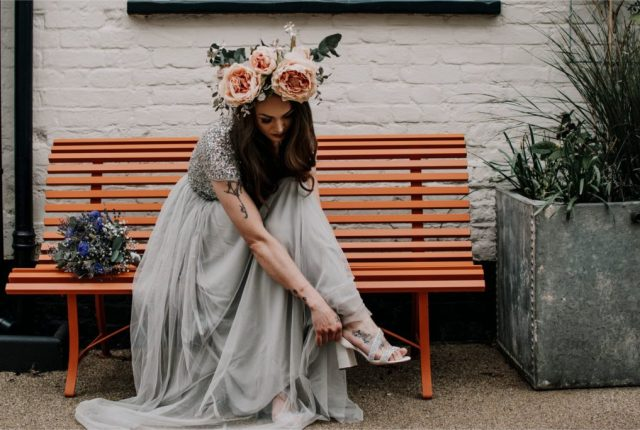 Contemporary Wedding with Eclectic Grey Styling and Epic Flower Crowns