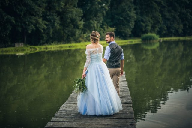 Rustic Outdoor Wedding With Blue Tulle Wedding Dress and a Labrador