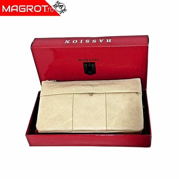 Borseta portofel dama din piele naturala, bej, Hassion,, 5025 Beige