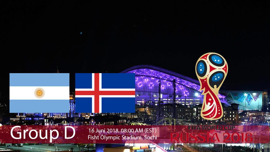 Pertandingan Grup D antara Argentina Vs Islandia dalam Ajang Piala Dunia Rusia 2018