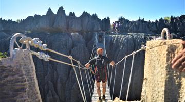 Randonnée et trekking en visite dans les Tsingy de Bemaraha à Madagascar